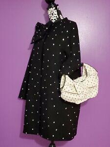 New Kate Spade Dorothy  women black wool  bow coat jacket sz 8 holiday gift