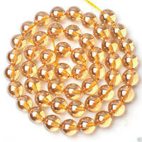 """10mm Rare Natural Champagne Topaz Round Gemstone Loose Beads 15""""AAA+"""