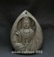 Tibet Miao Silver Kwan-yin Goddess Buddha Guan Yin Boddhisattva Amulet Pendant Y