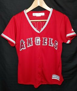 NEW Women's Majestic Anaheim Angels MLB Mike Trout Baseball Jersey Size Medium