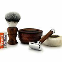 Shaving Set 4 Men Classic Wet Shave Safety Razor Synthetic Brush Free Blades