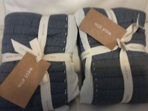 West Elm Quilted Mini Stripe Two (2) Standard Shams NWT! Iron Gray NWT