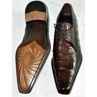 Chaussures à lacets en cuir marron imprimé crocodile véritable pour hommes faits