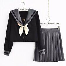 Japanese Girl JK School Uniform Lolita Sailor Costume Suit Tops +Pleated Skirt