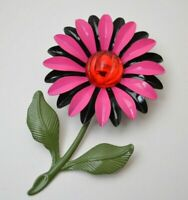 Vintage flower enamel brooch pin 1960s, colorful floral womens jewelry