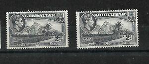 Gibraltar 1938 KGVI 2d grey two different printings SG124a & 124b  LMM (G407)