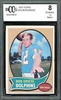 1970 Topps #10 Bob Griese Card BGS BCCG 8 Excellent+