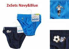 2xSets 3-4years Navy & Blue Boys 2 Pack Briefs Kids Underwear Pants 100% Cotton