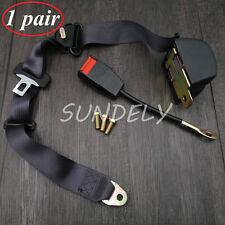 Pair Universal Black Retractable Seat Belt 3Point Auto Car Lap Adjustable Safety