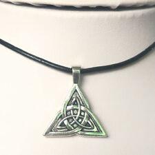 fashion Celtic knot alloy Genuine Leather Pendant Necklace Jewelry 1PCS
