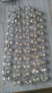 Lüster Leuchter Ersatzteile  5 x Kugelkette Glas mit Tropfengehänge Kronleuchter