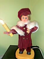 "Vintage Rennoc 19"" Christmas Caroler Doll Boy Animated Lighted Candle Victorian"