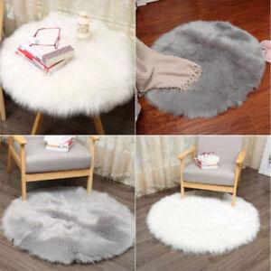 Soft Round Pad Carpet Hairy Plain Skin Fur Plain Fluffy Rug Bedroom Carpet Mats