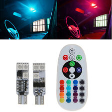 2X T10 5050 6 SMD RGB LED Car Dome Reading Light Lamp Bulb 12V +Remote Control