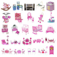 Miniature Furniture Pretend Play Set for Barbie Sisters Doll House DIY Decor Toy