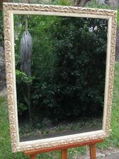 Decorative Wall Mirror Aged Off White Ornate Profile Wood Frame 84cm x 70cm