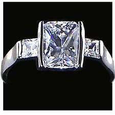 OCTAGONAL RADIANT Cut CZ Engagement Ring w/CZ Accents_ Size-7_NF_925 SILVER
