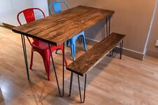 Vintage industrial hairpin leg reclaimed rustic dining table kitchen dining set