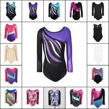 Kids Girl Sparkle Ballet Dancewear Gymnastics Leotard Bodysuit Costumes 3-14Y