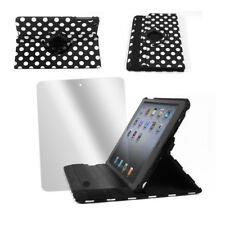 CASE COVER+SCREEN PROTECTOR SWIVEL FOLD FRONT+BACK PU BLACK DOT IPAD 2ND 3RD 4TH