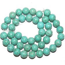 "GR685fb Blue-Green Turquoise 10mm Round Magnesite Gemstone Beads 15"""