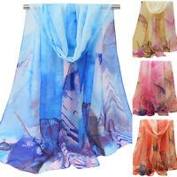Women Chiffon Long Vintage Shawl Scarf Warp Voile Large Square Gradient Scarves