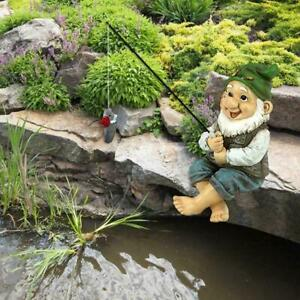 The Fishing Gnome Sitter Garden Gnome Statue Cute Gift Outdoor Decoration X9S5