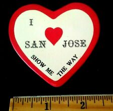 "Vintage I Love San Jose California ""Show Me The Way"" Heart Shaped Souvenir Pin"