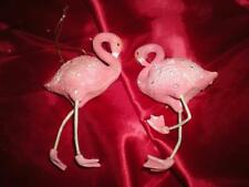 TWO CHRISTMAS PINK FLAMINGO OLD WORLD TYPE TREE ORNAMENTS RHINESTONES AND GLITZ