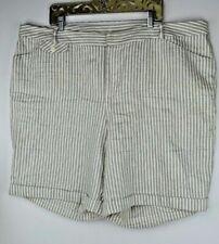 INC Women/'s Blue Everyday Casual Shorts Plus Size 1X Linen Blend MSRP $59 B2111