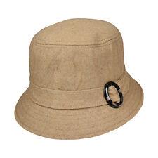 Womens Tan Wool Bucket Hat with Buckle Stylish Winter Ladies Hat Cloche