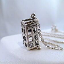 Phone Booth Necklace - 925 Sterling Silver - 3D Tardis London Call Box Opens NEW