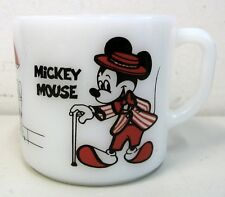 Vintage Mickey & Minnie Mouse Coffee Mug Cup Anchor Hocking Milk Glass Disney