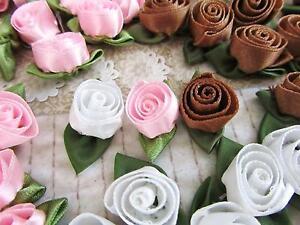 "60 Pink,Brown,White Satin Ribbon 1"" Swirl Rose Bud Flower/Craft/trim/Dress F99"