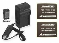 2X NPW126 Batteries + Charger for Fuji FujiFilm XPro1 HS30EXR HS50EXR X-E1 X-E2