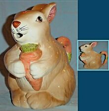 """Brown Bunny Rabbit with Carrot Easter Decor Ceramic Water Pitcher/9"""" tall"""