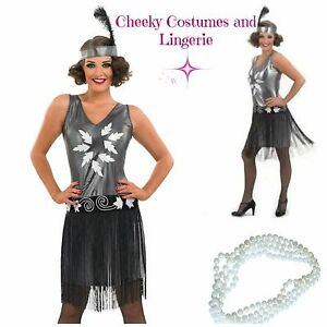 1920s 20s 1930s Flapper Gatsby Charleston Size 8-10 & FREE Bead Necklace
