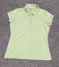 New listing Under Armour Adult Women's Fitted Polo Shirt L Green, Golf Tennis Casual 1223030
