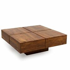 Couchtisch Wohnzimmer-Tisch Palisander Massivholz Sheesham 80x80x30 Stone Finish