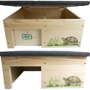 Schildkrötenhaus l Schutzhaus mit Windfang, Holzlasur & Aufklappbar NEU