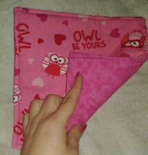 Reversible Quilted Hot Pad / Potholder Valentine'S Day Owl Be Yours Pink