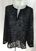 Jealous Tomato Ladies Sheer Blouse Black Floral Texture Long Sleeve New
