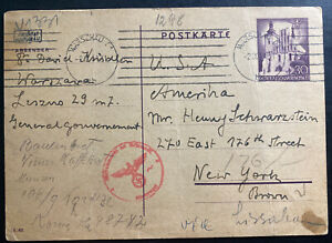 1941 Warsaw Ghetto Poland Germany Postcard Cover to New York Usa Krindler