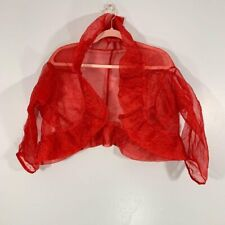 New listing Vintage Y2K Vibe red Sheer Ruffled Collar Cropped Evening Over Coat