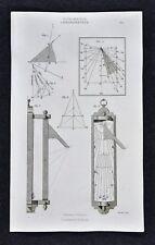 1859 Didot Freres Print - Chronometry - Sundial Clock Time Measurement Sun Dials