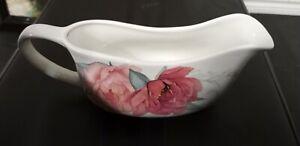 Martha Stewart Whiteware Gravy Boat w Flower Design. Discontinued.