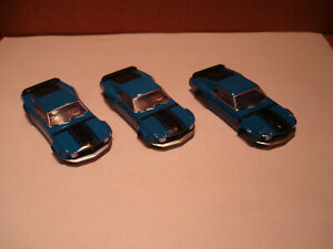 3 TOMY AFX H.O. SCALE SLOT CAR BODY ONLY FORD MUSTANG BOSS 302 BLUE BLACK 1.7+