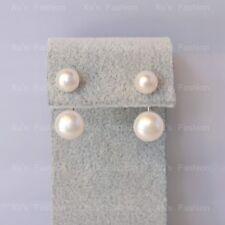 Two way Pearl Earrings Stud Dangle White Freshwater Pearl Sterling Silver
