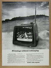 1972 Sony TV-750 Portable Rechargeable Television photo vintage print Ad