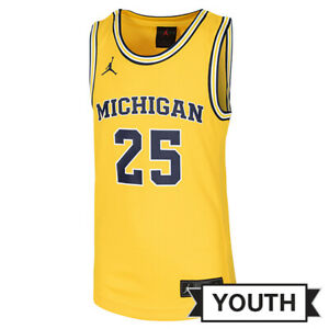 Michigan Wolverines #25 Jordan Jumpman Yellow Basketball Jersey Youth SMALL NWT